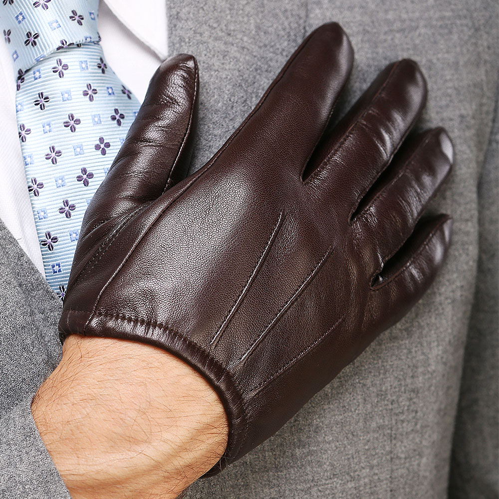 Genuine Leather Men Gloves Fashion Casual Sheepskin Glove Black Brown Five Fingers Short Style Male Driving Gloves M017PQ2 in Men 39 s Gloves from Apparel Accessories