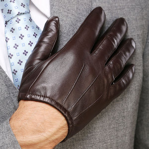 Image 4 - Genuine Leather Men Gloves Fashion Casual Sheepskin Glove Black Brown Five Fingers Short Style Male Driving Gloves M017PQ2