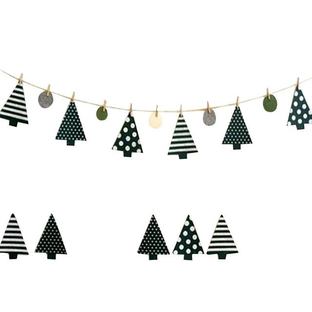 Little Pine Tree Christmas Tree String Banner Bunting Flags Window Outdoor Home Party Decor Garland String Flag Decorations
