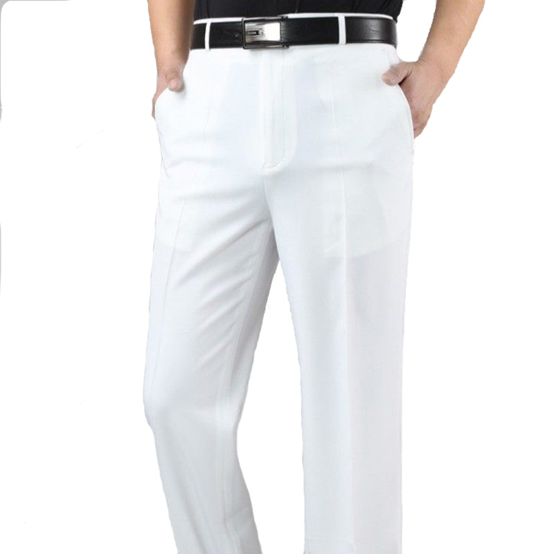 2018 New Arrive  Summers Thin Male Straight Casual Linen Pure White  Silk  Long Pants Businese Plus Size Men Trouser