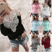 Fashion Sexy Women Ladies Long Sleeve Hollow Out Lace Slim Tshirt 2019 Summer Up Casual Heart Shirts Tops
