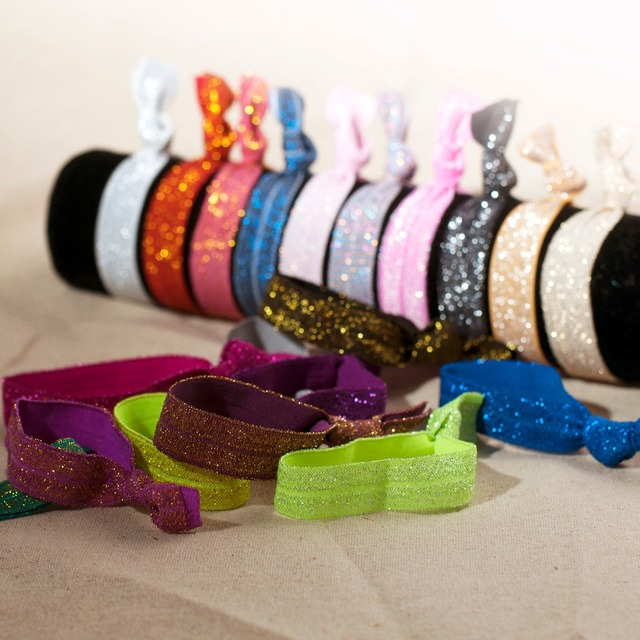 100pcs Gold   silver thread Goody Ouchless Ribbon Hair Bands Women s Hair  Accessories Emi Jay Like Elastic Yoga Hair Ties 4688c5cc095