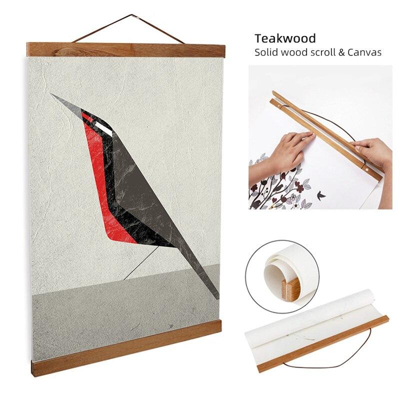 ART ZONE Geometric Bird Abstract Painting Modern Minimalist Solid Scroll Canvas Art Poster Bedroom Decor Frame Animal