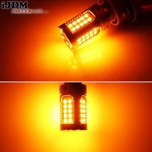 Image 5 - IJDM רכב 7440 LED לא Hyper פלאש אמבר צהוב 48 SMD 3030 LED T20 W21W 1156 7507 BAU15S LED נורות הפעל אות אורות, canbus