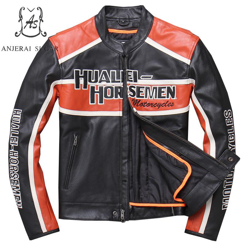 Jacket Motorcycle-Coat Genuine-Leather Cow Letter Embroidery Limited Retro-Made Plus-Size