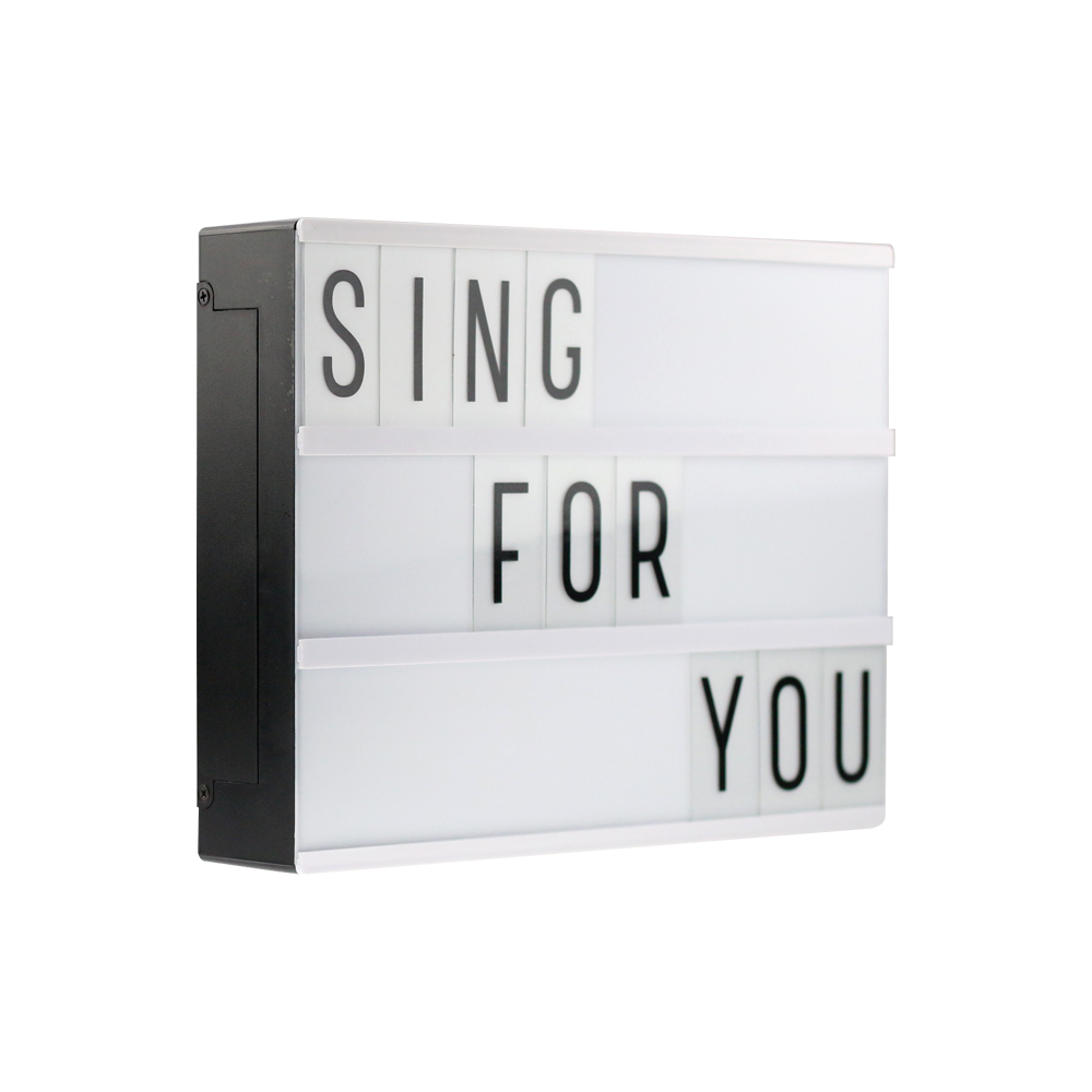a4 size led cinematic light box with 85 pcs black letters cards battery or usb