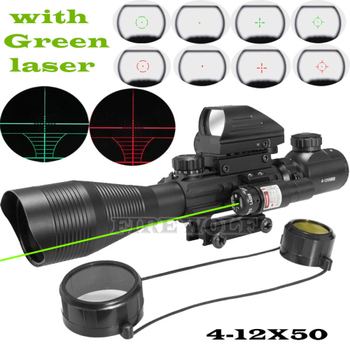 4-12x50 eg hunting airsofts riflescope tactical air gun red green dot laser sight scope Ολογραφικό οπτικό πεδίο τουφέκι