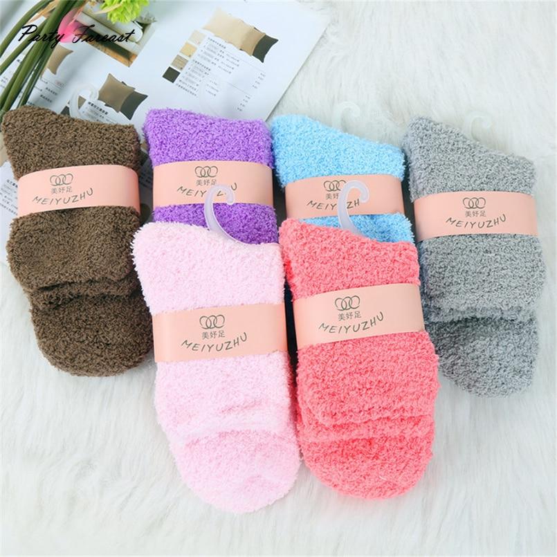 PF Thicken   Socks   Solid Color Terry   Socks   for Women Girls Coral Fleece Long   Socks   Winter Warm Skarpetki Chaussette Femme V0246