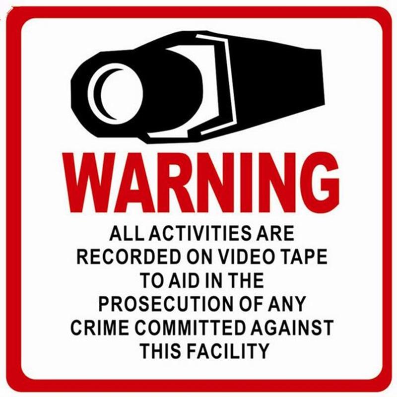 10 Pcs Waterproof Home CCTV Surveillance Security Camera Adhesive Warning Paper Sticker Warning Decal Signs label 8*8cm стоимость