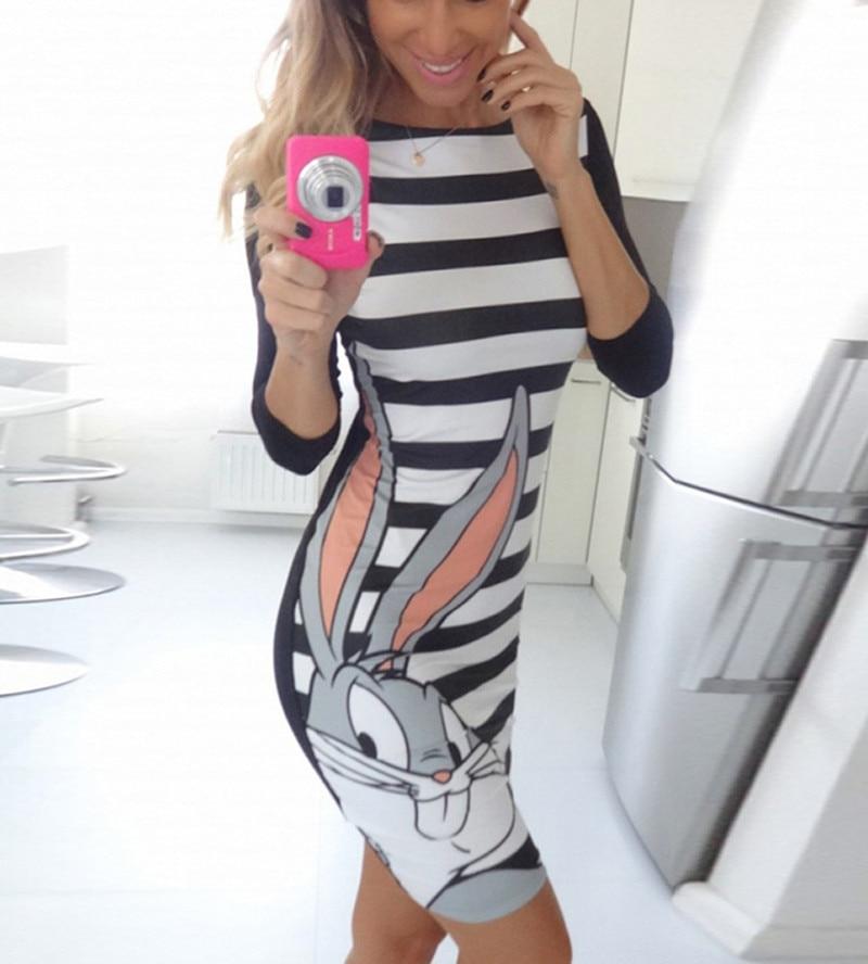 2016 New Fashion women summer style cute bodycon vintage cartoon print striped rabbit sexy slim mini
