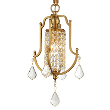 ФОТО mini small brass copper pendant light modern contemporary k9 crystal drop swag hanging lamps gold pendant light home decoration