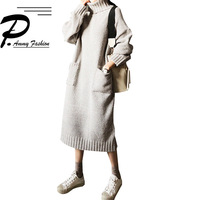 Winter Plus Size Long Sleeve Long Sweater Dress 2018 Women Simple high collar solid color Oversized knitting Jumper Tunic Dress
