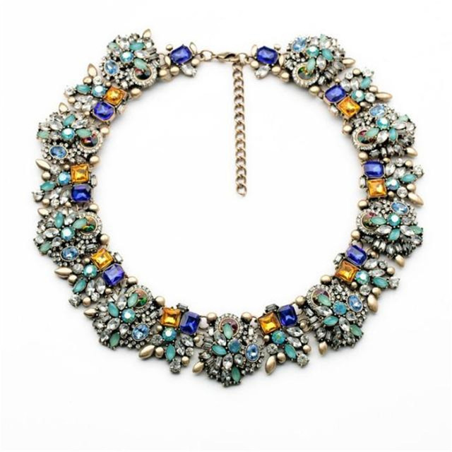 Fashionable woman new upscale atmosphere colour Synthetic gems   necklace 2017 jewelry factory direct sale