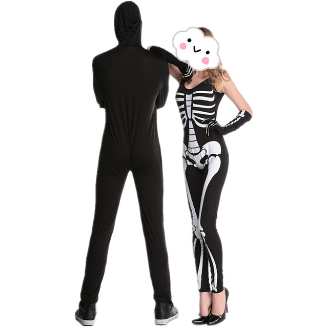 2016 hot sale couple costume balckwhite skeleton halloween costumes for men adult black zombie ghost costume