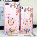 "Silicone soft case capa para iphone 7 7 plus case tpu diamante borboleta suporte para iphone 7 plus 4.7 ""5.5"" casos strass"