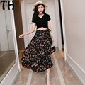Summer Dress 2017 Chiffon skirt +casual top Women Vestidos 2 Pieces Set Sexy Party Club Long skirt Two Piece Outfits Z018