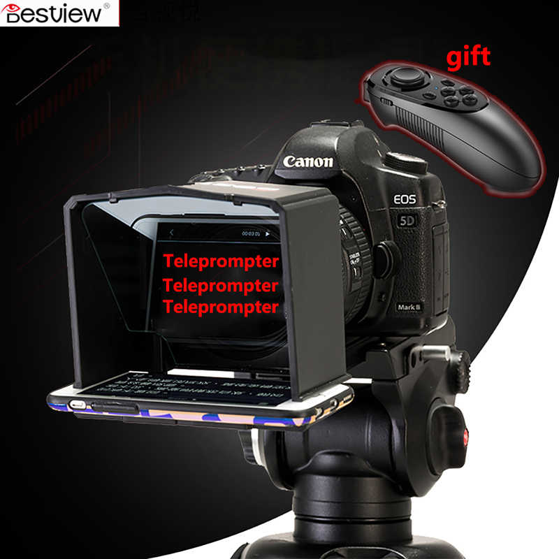 Bestview T1 Smartphone Teleprompter for Canon Nikon Sony Camera Photo  Studio Video T1 Teleprompter DSLR for Youtube Interview