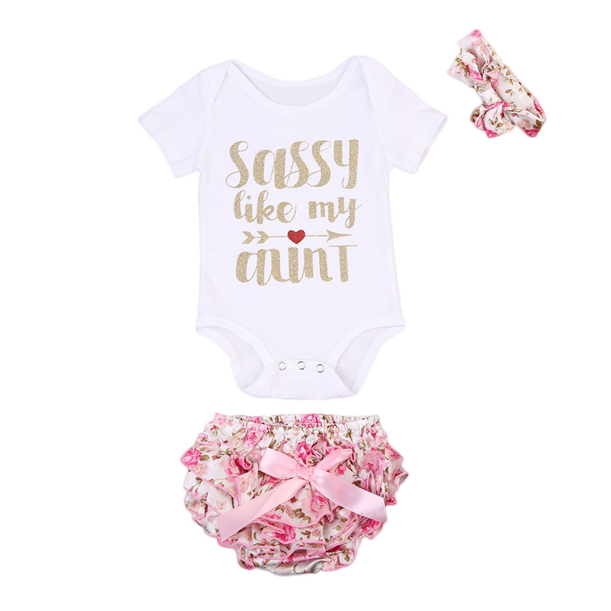 3PCS Baby Girls Letters Bodysuit Ruffle Shorts Clothing Set Outfit Clothes Bebes Headband Flower Short Pants Fille Outfits Sets