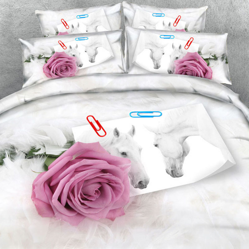 Brand Goldeny 3 Parts Bedding set Soft white feathers  Roses and photo of White stallions 3d bed set with 3d bed sheet setBrand Goldeny 3 Parts Bedding set Soft white feathers  Roses and photo of White stallions 3d bed set with 3d bed sheet set