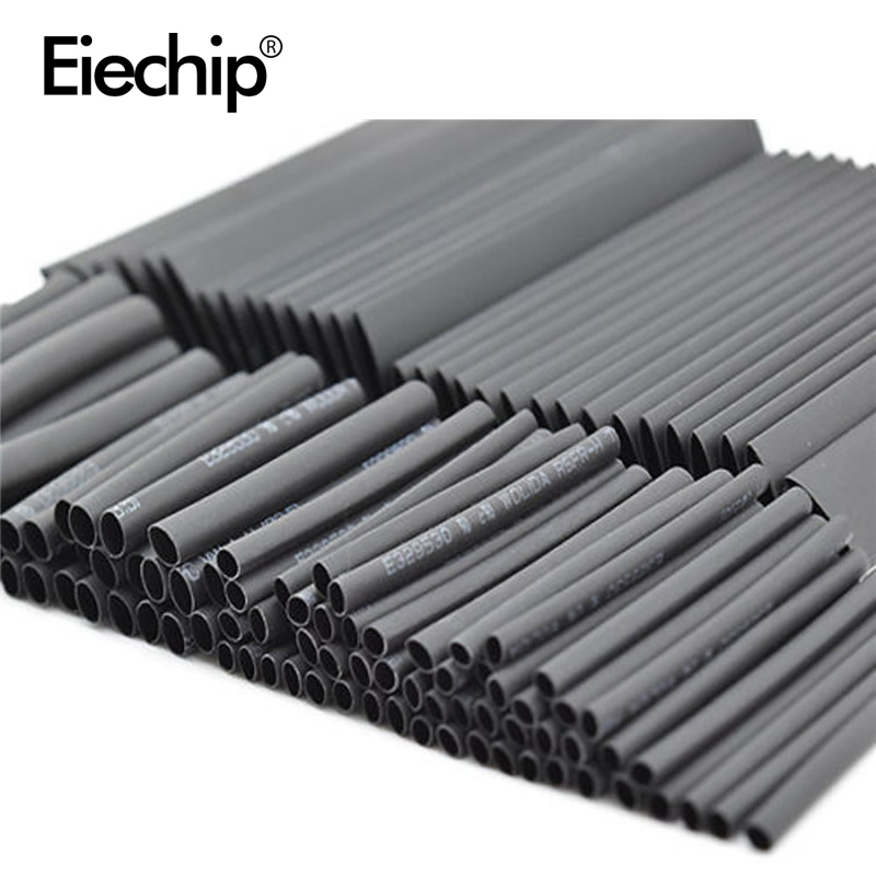 127pcs/lot Heat Shrink Tubing 7.28m 2:1 Black Tube Car Cable Sleeving Assortment Wrap Wire Kit with Polyolefin Tub Free Shipping цена
