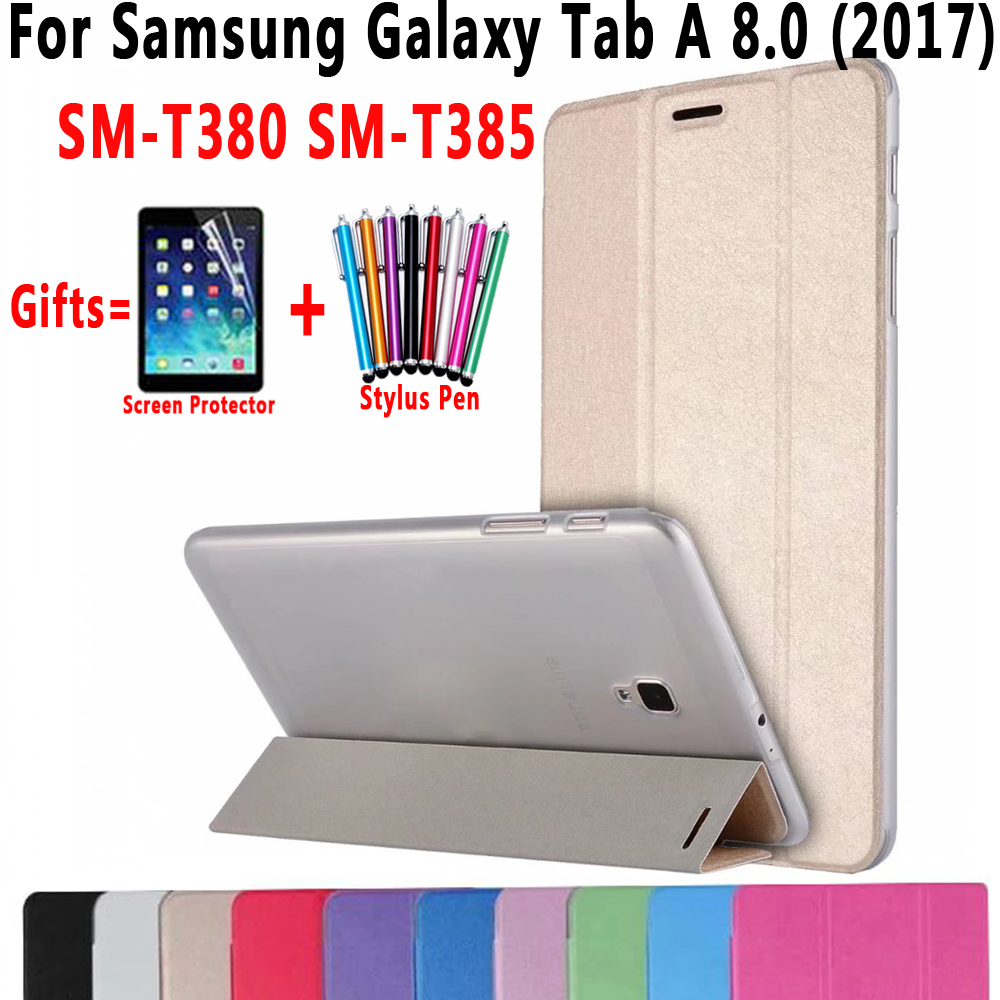 Case For Samsung Galaxy Tab A 8.0 2017 SM-T380 SM-T385 Ultra Slim Trifold Smart Wake Sleep Cover for Samsung Galaxy Tab A2 S 8.0 планшет samsung galaxy tab tab e sm t561 8gb white sm t561nzwaser