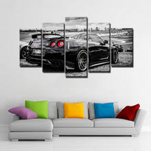 Modular Wall Art Pictures Canvas HD Printed Poster Modern Home Decor 5 Pieces Flashy Nissan Gtr Sports Car Painting Frame PENGDA(China)