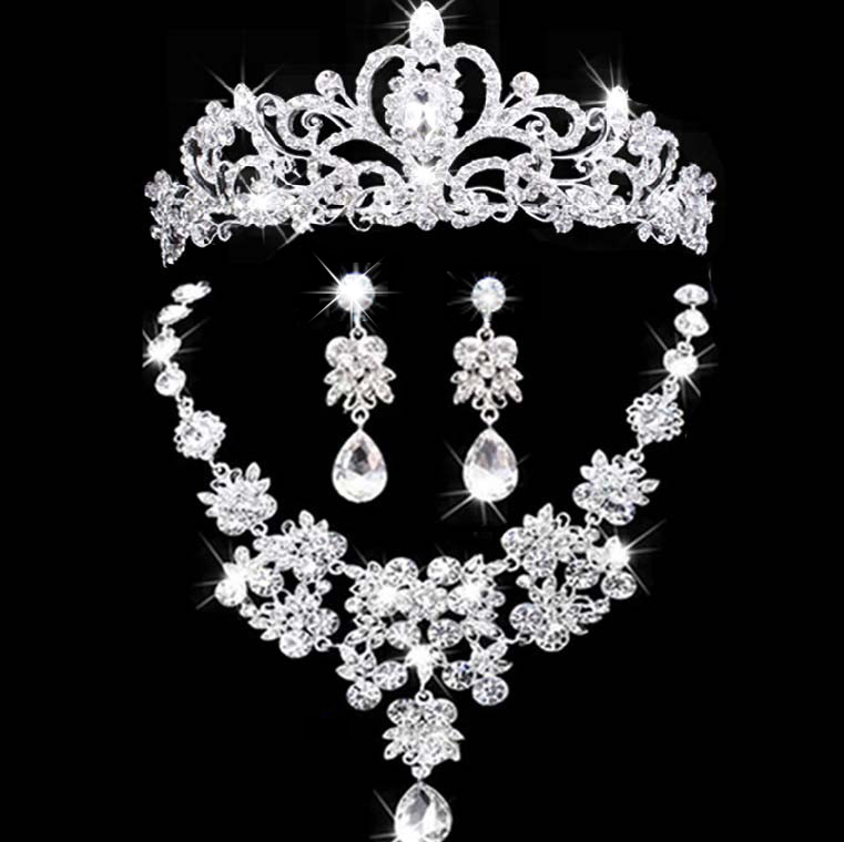 2017 New bridal jewelry crown necklace and earring set tiara rhinestone wedding accessories bridal crystal jewelry sets цена 2017
