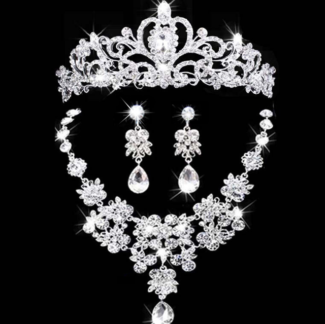 2017 New bridal jewelry crown necklace and earring set tiara rhinestone wedding