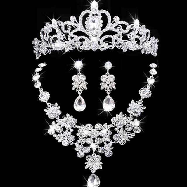 2017 Nuovi gioielli da sposa corona collana e orecchino set strass tiara nuziale