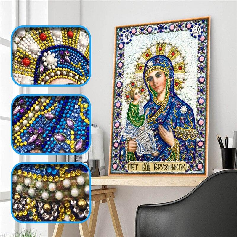 5D DIY Diamond Painting Cross Stitch Religious Icon Character Crystal Diamond Mosaic Shape Diamond Embroidery Rhinestone Decorat