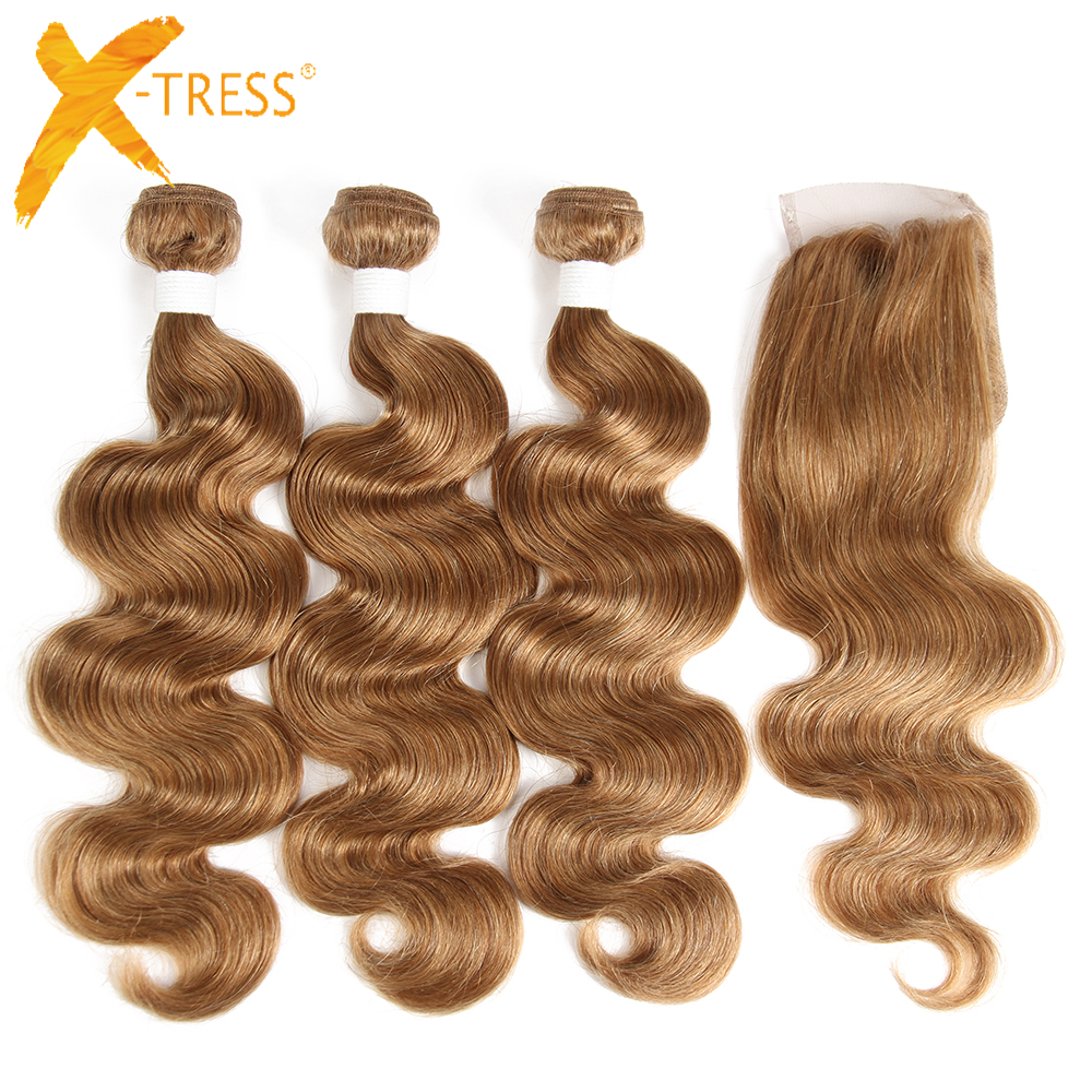 X-TRESS Pre-Colored Human Hair Weaves 3Pcs Human Hair Bundles With Lace Closure 4x4 Brazilian Non-Remy Hair Extension Blonde 27#