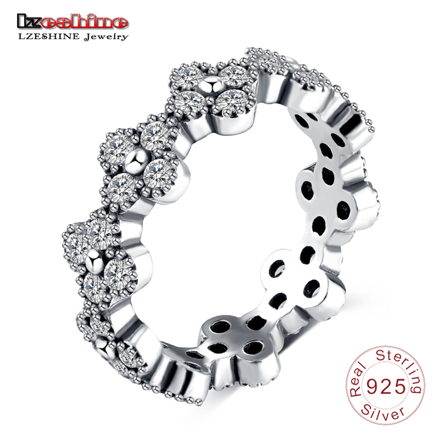 9ccebec49 LZESHINE Brand Oriental Blossom Ring CZ Pave Sparkling 925 Sterling Silver  Wedding Bands Fine Jewelry Rings anillo PSRI0088-B