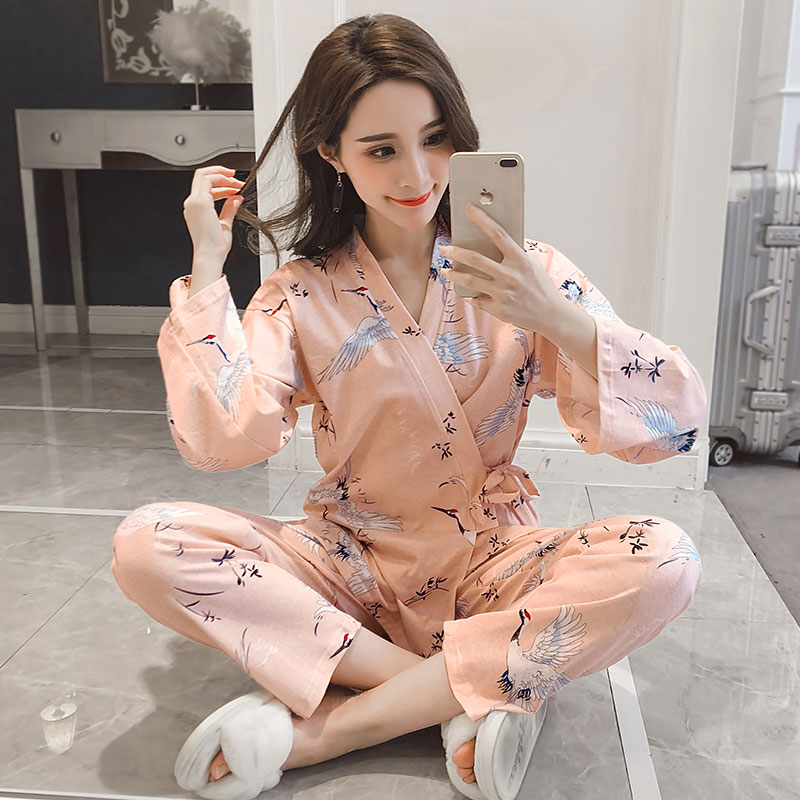2019 Spring Autumn Cute Cartoon Print Kimono   Pajamas     Sets   for Women Long Sleeve Milk Silk Pyjama Sleepwear Pijama Mujer Homewear
