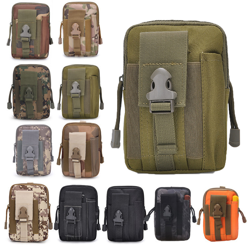 Small Tactical Molle Waist Belt Bag Outdoor Hiking Hunting Phone Pouch Brown
