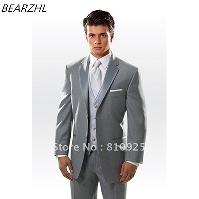fd1066760efd men wedding suits light gray custom made suit classic tuxedo for wedding  shiny collar 3 piece suit high quality