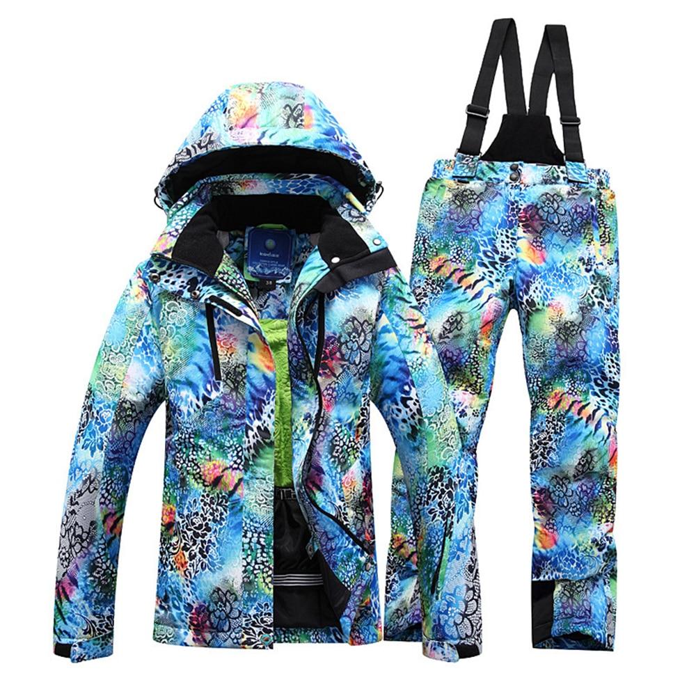 Prix pour Femmes combinaison de Ski Veste Pantalon snowboard vêtements Chauds Ensemble En Plein Air Randonnée Camping Deux Pièces Coupe-Vent Imperméable Hiver Nouveau Costume