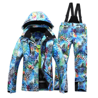 Women Ski Suit Jacket Pants Snowboard Warm Clothing Set Outdoor Hiking Camping Two Pieces Windproof Waterproof