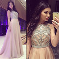 2016 Promo A Line Scoop Neck Beaded Crystal Long Sweep Train Chiffon Champagne Prom Dress Women Formal Party Gown 0785