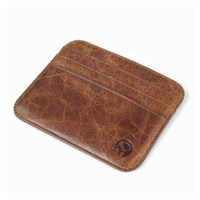Genuine Leather Bank Card Holder Men Luxury Case To Protect Credit Cards Slim Retro Wallet for Cards Mini Card Id Holders Bag thinkthendo new male genuine cow leather wallet card package retro woven passport business cards holder