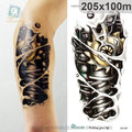 20X10cm 3D Large Halloween Horrible Skull Golden Mechanical Robot Arm Pattern Men Arm Shoulder Temporary Tatoo Stickers