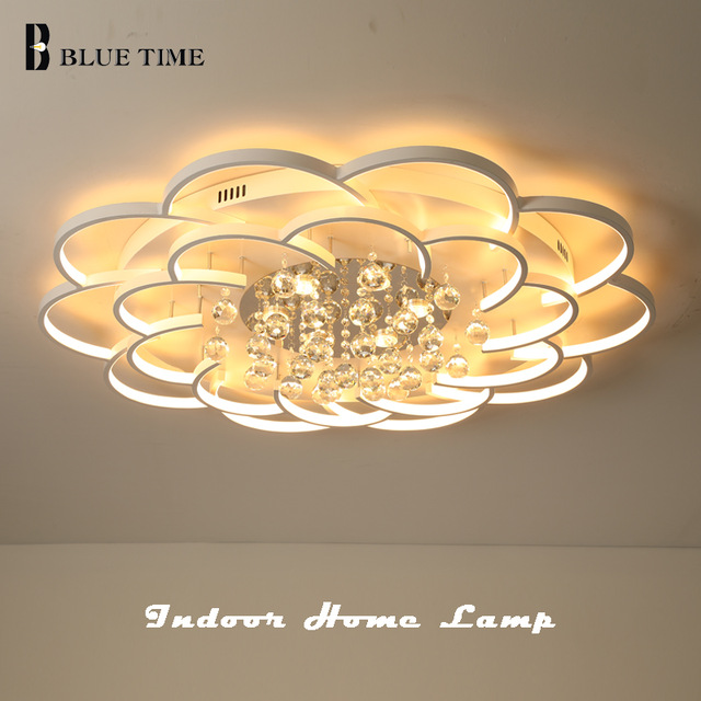 BlueTime White Modern Led Crystal Ceiling Light For Living Room Bedroom Ceiling Luminarias Para Sala Elegant Lamp Fixture AC110V