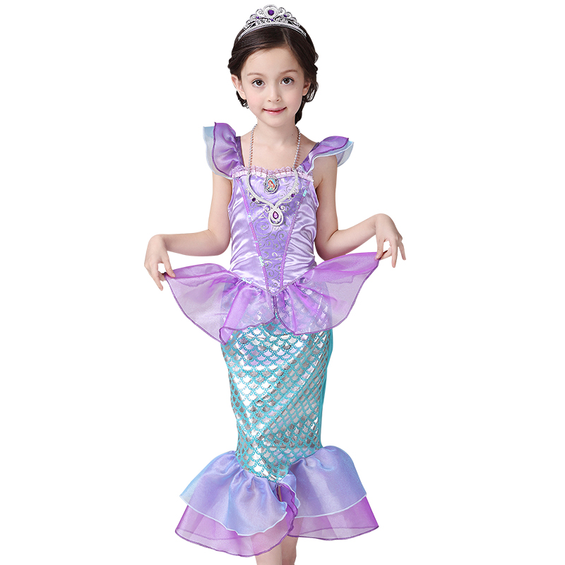 2018 New Girls Dress Little Mermaid Fancy Dressed Kids Clothing Girls Mermaid Dresses Princess Ariel Cosplay for Summer Swimming the little mermaid princess ariel pink fluffy party fancy dress cosplay costume