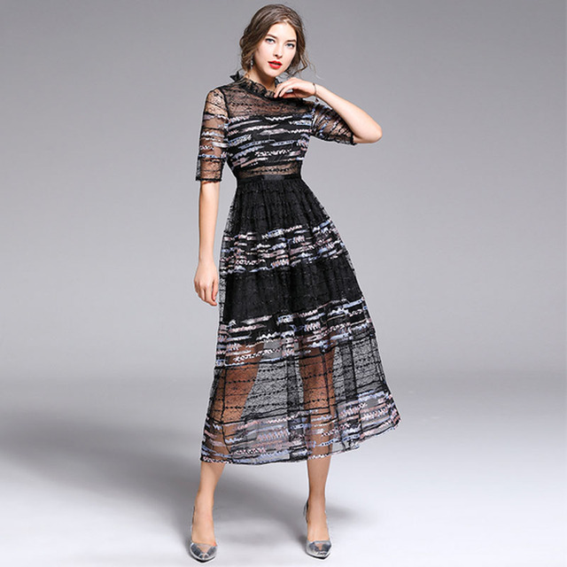 0778cc024a22 2019 Summer Elegant Embroidery Hollow Out Lace Dress Women Half Sleeve  Vintage Slim Sexy Party Casual