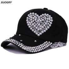 New Fashion High Quality Baseball Caps Rhinestone Semicircle Pearl Cap Hat For Children Love Style Snapback Hats Sun Hat цена