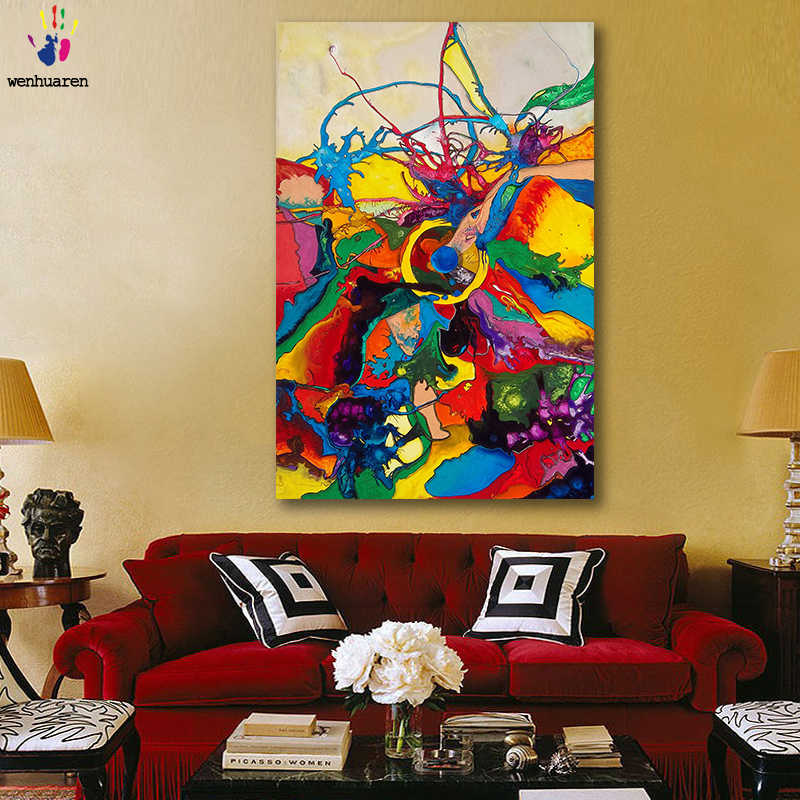 DIY colorings pictures by numbers with colors abstract Color collision art picture drawing painting by numbers framed Home