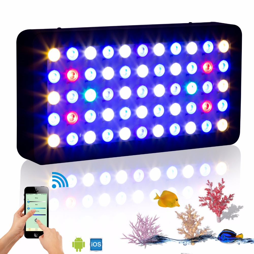 New WIFI APP Controller 165W marine led aquarium Light Dimmable 3 channels lighting for Fish Tank underwater Coral Reef plants