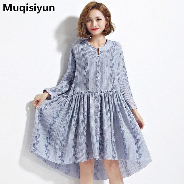 Muqisiyun 2017 New Autumn Europe Prairie Style Women Loose Dress Female Vertical Stripes Dresses T5203