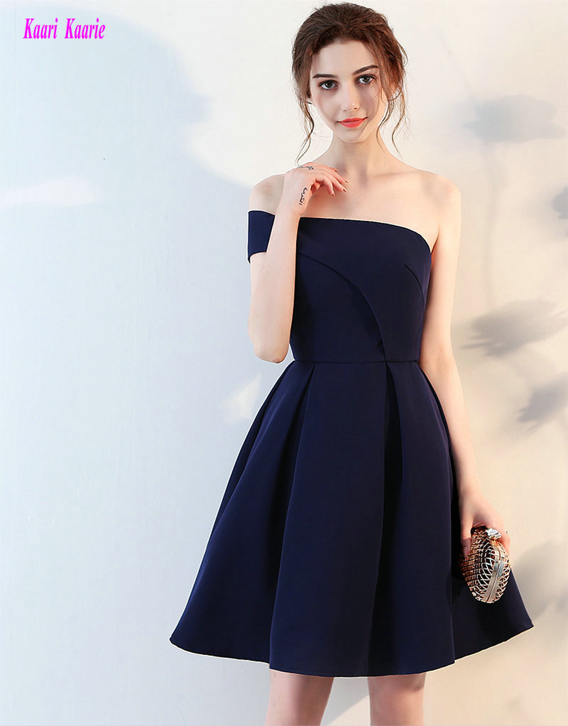 Junoesque Dark Navy   Cocktail     Dresses   2019 New Sexy One-Shoulder Satin A-Line Knee-Lingth Graduation   Dress   Short Prom Party Gowns