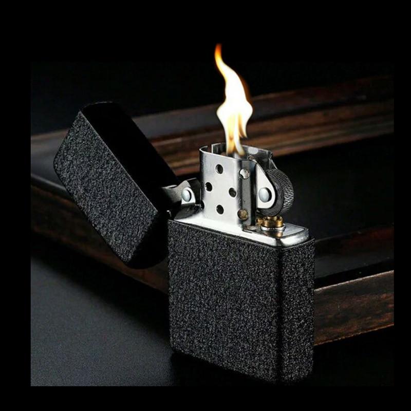 Retro Black Frosted Metal Lighter Windproof Oil Cigarette lighters Smoking Fuel Kerosene Lighters Cigarette case