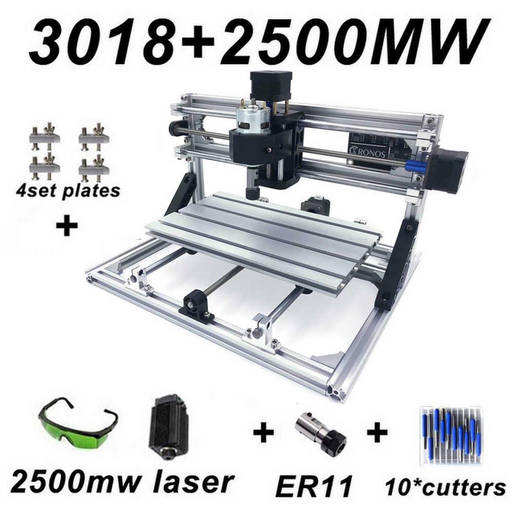 CNC3018 Mini Machine de gravure Laser GRBL contrôle PCB fraiseuse 5500mw 2500mw 500mw bois routeur bricolage graveur